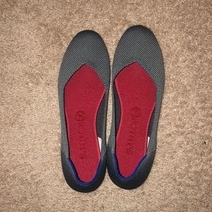 Grey charcoal Rothy's the flat with red insoles